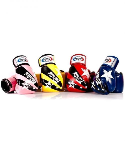 Image of Fairtex Nation Print Boxing Gloves (Pink, Yellow, Red, Blue)