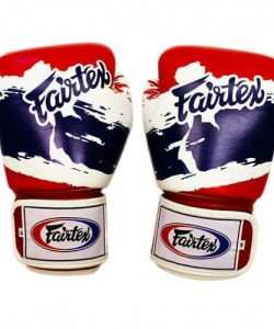 "Image of boxing gloves with Thai flag pattern and country shape, ""Fairtex Thai Pride"""