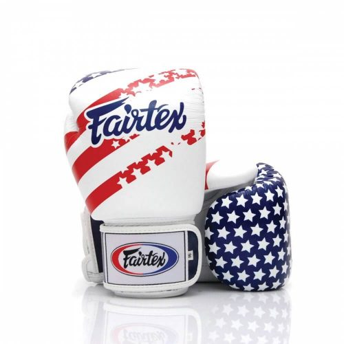 Fairtex USA Boxing Gloves. Image of white boxing gloves with USA flag design across the back and fingers.