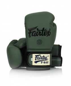 Fairtex F-Day Boxing Gloves. Image of army green Fairtex boxing gloves.