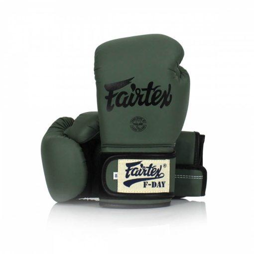 Fairtex F-Day Boxing Gloves. Image of army green Fairtex boxing gloves.