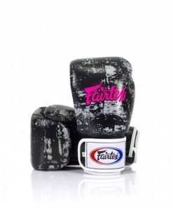 "Fairtex Dark Cloud Boxing Gloves. Image of black/grey boxing gloves, with hot pink ""Fairtex"" lettering written across the back of the hand."
