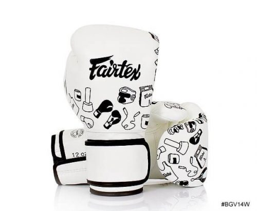 Fairtex Street Art Boxing Gloves. Graffiti style images of Thai boxing equipment are printed on the white boxing gloves.