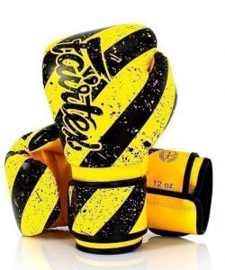 Fairtex Grunge Art Boxing Gloves BGV14Y. Yellow boxing gloves with thick, diagonal black stripes.