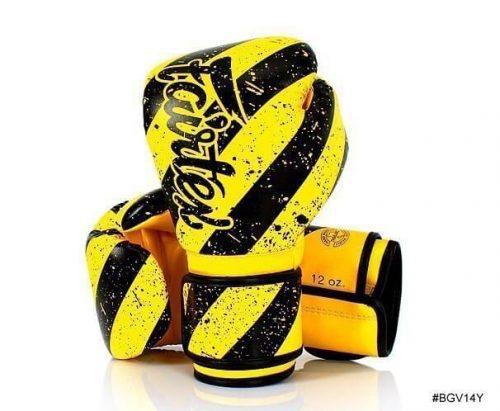 Fairtex Grunge Art Boxing Gloves BGV14Y. Yellow boxing gloves with thick, diagonal black stripes.