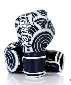 Fairtex Japanese Art Boxing Gloves. Navy blue and white boxing gloves with wave like pattern.