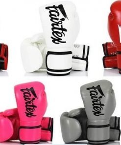 "Fairtex BGV14 Boxing Gloves. Image of Fairtex microfiber boxing gloves. The gloves are solid color with the ""Fairtex"" brand logo written across the back of the gloves. There are 7 pairs of gloves; they are black, white, red, yellow, pink, grey, and blue."