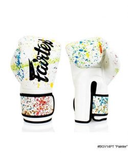 Fairtex Painter Boxing Gloves. Solid white boxing gloves with colorful paint splatter pattern.