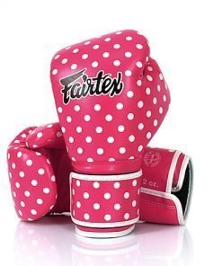 Fairtex Vintage Art Boxing Gloves. Pink boxing gloves with white polka dot pattern.