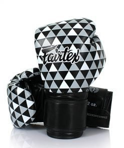 Fairtex Op Art Boxing Gloves (BGV14B). Boxing gloves with monochromatic triangle pattern with solid black cuff.