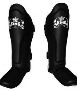 Top King Shin Guards Pro Leather TKSGP Black