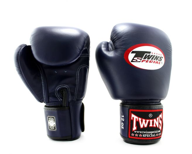 Twins Special BGVL3 2 Tone Leather Boxing Gloves Muay Thai Kickboxing Black