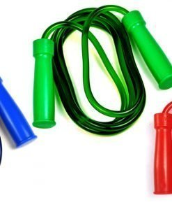 Image of all 3 color choices for the Twins Skipping Rope: Blue, Green, and Red