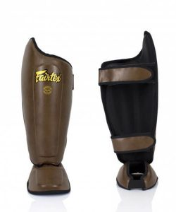 Fairtex SP8 Shin Guards. Brown leather shin protectors for Muay Thai and Kickboxing.