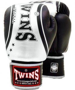 Twins FBGV-TW4 Boxing Gloves (Black/Silver)