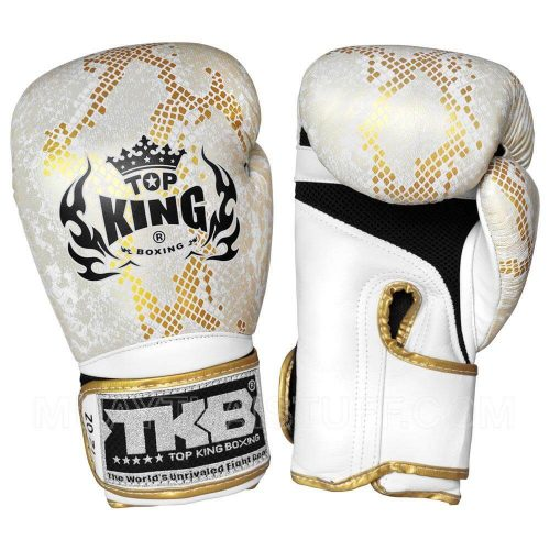 Top King Boxing Snake Boxing Gloves TKSGSS02-White Gold