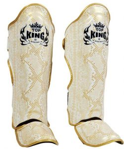 Top King Boxing Snake Shinguards TKSGSS02 White Gold