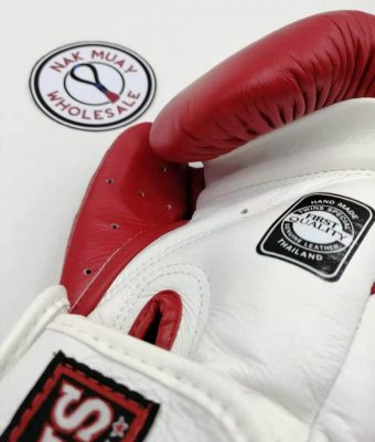 Ventilation holes across the thumb and palm of the boxing gloves. A lightweight grip bar along the finger tips.