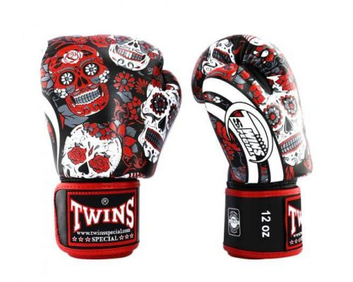 Twins Skull Boxing Gloves Red