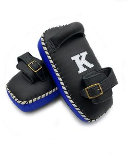K Muay Thai Equipment Kick Pads Single Strap Black/Blue