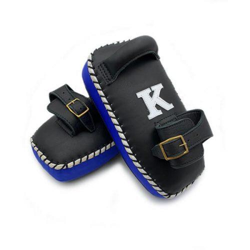 K Muay Thai Equipment Kick Pads Single Strap Black/Blue