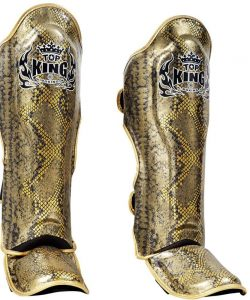 TOP KING SHIN GUARDS PADS PROTECTOR SNAKE BLUE GOLD LARGE TRAINING MUAY THAI