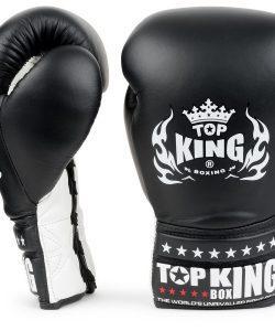 Top King Lace Up Boxing Gloves TKBGSC Super Competition Gloves Black